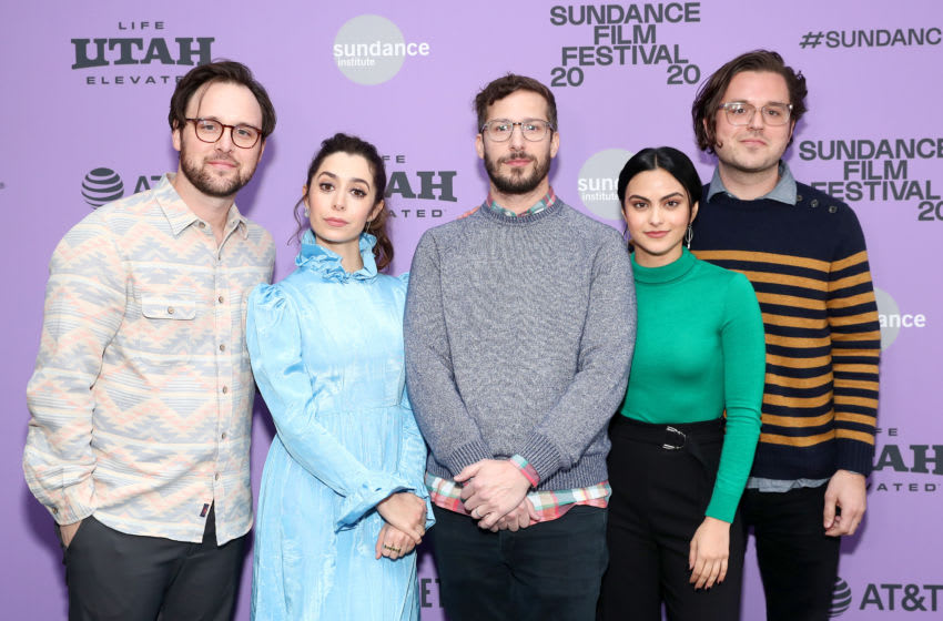 PARK CITY, UTAH - JANUARY 26: (L-R) Director Max Barbakow, Cristin Milioti, Andy Samberg, Camila Mendes, and Screenwriter Andy Siara attend the 2020 Sundance Film Festival -