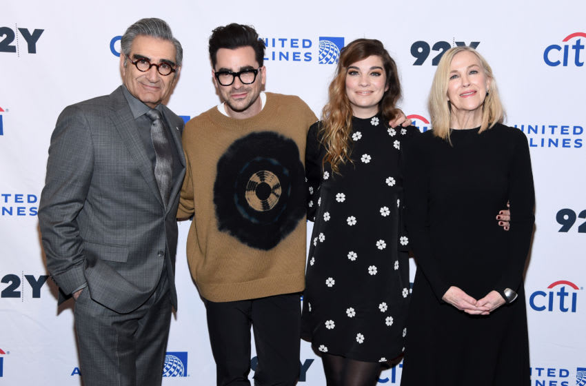NEW YORK, NEW YORK - JANUARY 17: Eugene Levy, Daniel levy, Annie Murphy and Catherine O'Hara attend the