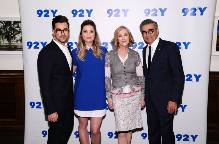NEW YORK, NY - MARCH 14: (L-R) Actors Daniel Levy, Annie Murphy, Catherine O'Hara and Eugene Levy attend 92nd Street Y Presents