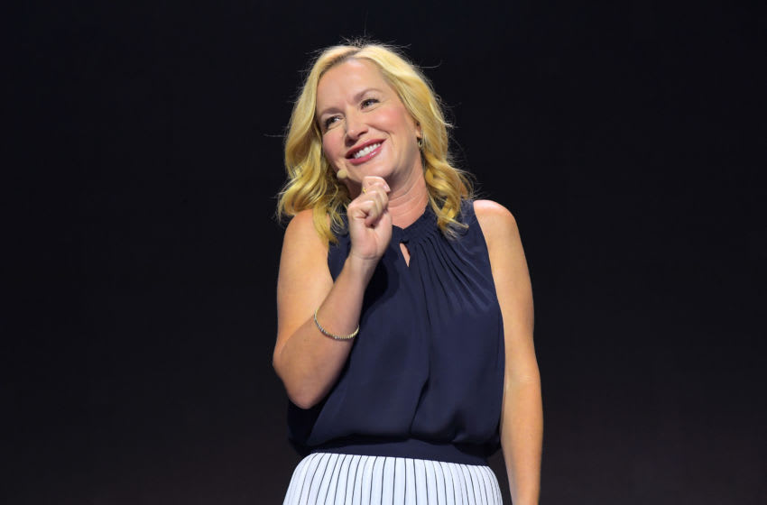 """ANAHEIM, CALIFORNIA - AUGUST 25: Angela Kinsey of """"Be Our Chef"""" speaks at the Disney+ Pavilion at Disney's D23 EXPO 2019 in Anaheim, Calif. """"Be Our Chef"""" will stream exclusively on Disney+, which launches on November 12. (Photo by Charley Gallay/Getty Images for Disney+)"""