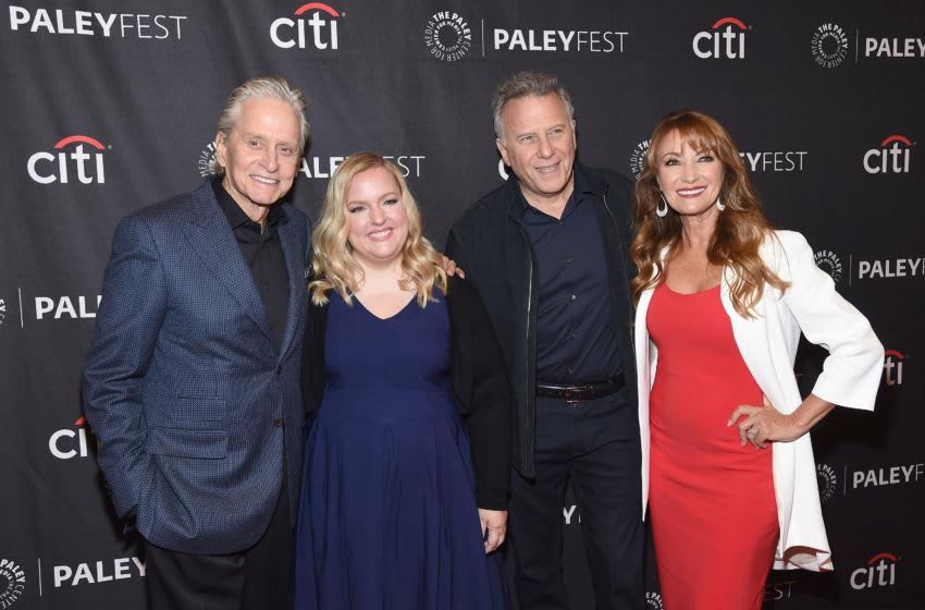 NEW YORK, NEW YORK - OCTOBER 11: (L-R) Michael Douglas, Sarah Baker, Paul Reiser and Jane Seymour attend