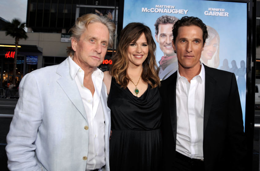 HOLLYWOOD - APRIL 27: Actor Michael Douglas, actress Jennifer Garner and actor Matthew McConaughey arrive at the premiere of Warner Bros.