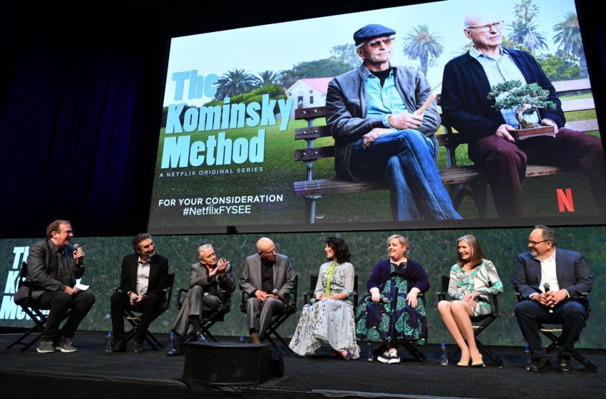 LOS ANGELES, CALIFORNIA - JUNE 08: Pete Hammond, Chuck Lorre, Michael Douglas, Alan Arkin, Lisa Edelstein, Sarah Baker, Susan Sullivan and Al Higgins speak onstage at the Netflix