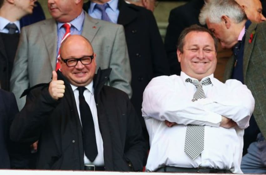 SUNDERLAND, ENGLAND - OCTOBER 25: Newcastle owner Mike Ashley (R) and Managing Director Lee Charnley (L) are seen on the stand prior to the Barclays Premier League match between Sunderland and Newcastle United at Stadium of Light on October 25, 2015 in Sunderland, England. (Photo by Mark Runnacles/Getty Images)