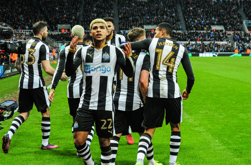 NEWCASTLE, ENGLAND - FEBRUARY 1: DeAndre Yedlin of Newcastle United (22) calls for fans to get behind the team after Matt Ritchie scored Newcastle's second goal during the Sky Bet Championship match between Newcastle United and Queens Park Rangers at St.James' Park on February 1, 2017 in Newcastle upon Tyne, England. (Photo by Serena Taylor/Newcastle United via Getty Images)