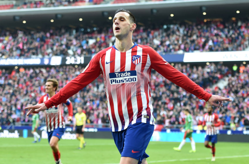 MADRID, SPAIN - DECEMBER 08: Nikola Kalinic of Atletico Madrid celebrates after scoring his team's first goal during the La Liga match between Club Atletico de Madrid and Deportivo Alaves at Wanda Metropolitano on December 8, 2018 in Madrid, Spain. (Photo by Denis Doyle/Getty Images)