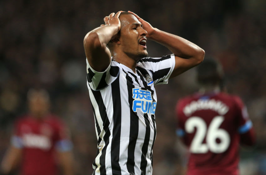 LONDON, ENGLAND - MARCH 02: Salomon Rondon of Newcastle United reacts during the Premier League match between West Ham United and Newcastle United at London Stadium on March 02, 2019 in London, United Kingdom. (Photo by Stephen Pond/Getty Images)