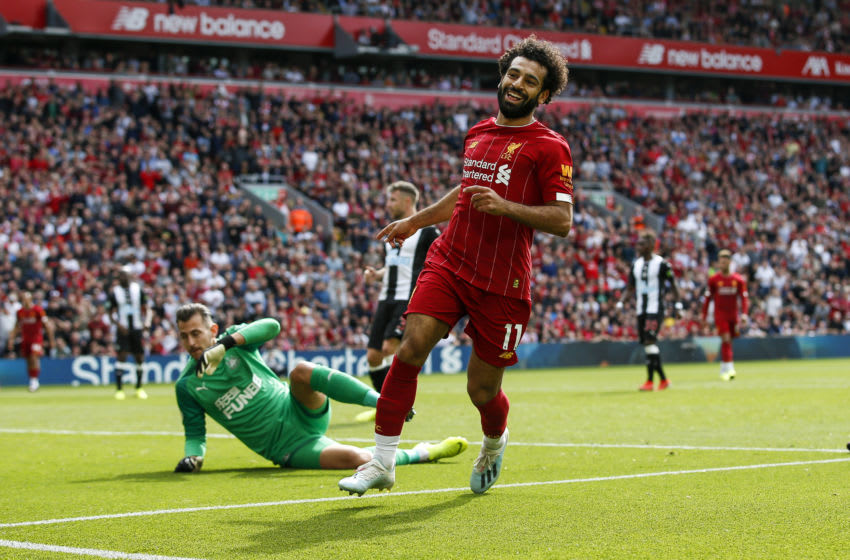 Mohamed Salah of Liverpool celebrates after scoring vs. Newcastle United. (Photo by Daniel Chesterton/Offside/Getty Images)