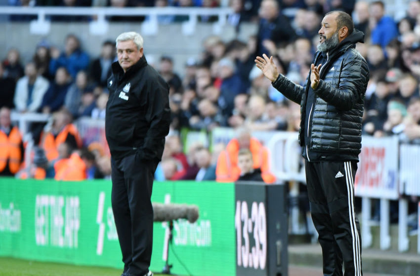 NEWCASTLE UPON TYNE, ENGLAND - OCTOBER 27: Nuno Espirito Santo, Manager of Wolverhampton Wanderers reacts during the Premier League match between Newcastle United and Wolverhampton Wanderers at St. James Park on October 27, 2019 in Newcastle upon Tyne, United Kingdom. (Photo by Mark Runnacles/Getty Images)