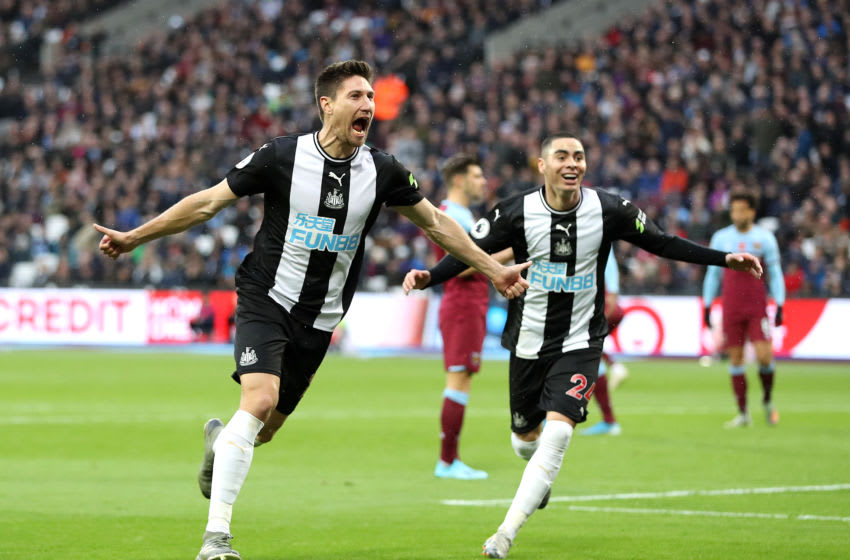 Federico Fernandez and Miguel Almiron of Newcastle United. (Photo by Alex Pantling/Getty Images)