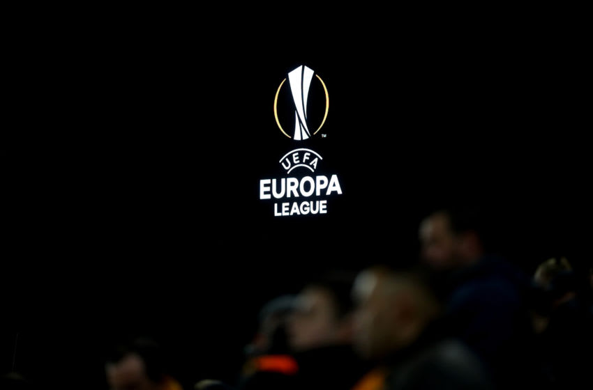 The Europa League logo is displayed on the screen. (Photo by Catherine Ivill/Getty Images)