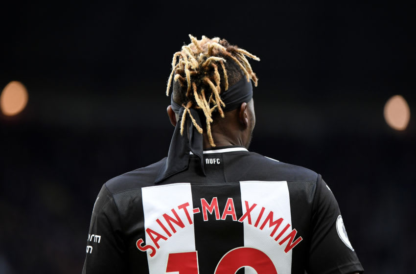 NEWCASTLE UPON TYNE, ENGLAND - NOVEMBER 09: Allan Saint-Maximin of Newcastle United in action during the Premier League match between Newcastle United and AFC Bournemouth at St. James Park on November 09, 2019 in Newcastle upon Tyne, United Kingdom. (Photo by Mark Runnacles/Getty Images)