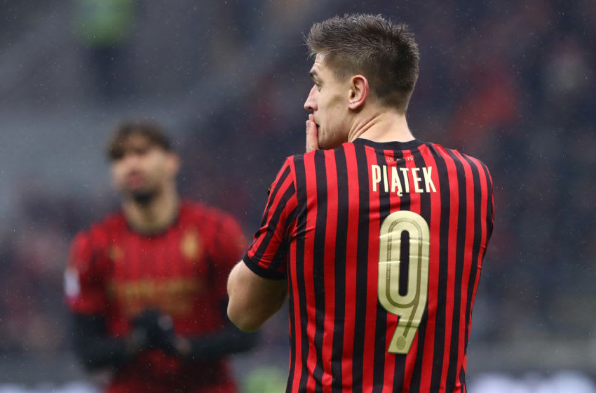 MILAN, ITALY - DECEMBER 15: Krzysztof Piatek of AC Milan looks on during the Serie A match between AC Milan and US Sassuolo at Stadio Giuseppe Meazza on December 15, 2019 in Milan, Italy. (Photo by Marco Luzzani/Getty Images)