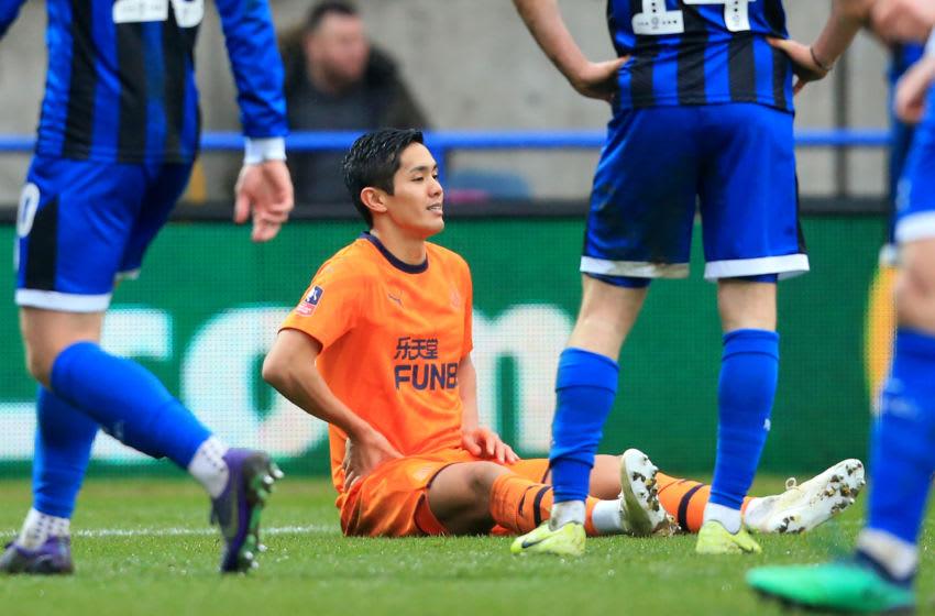 Newcastle United's Japanese striker Yoshinori Muto (Photo by LINDSEY PARNABY/AFP via Getty Images)