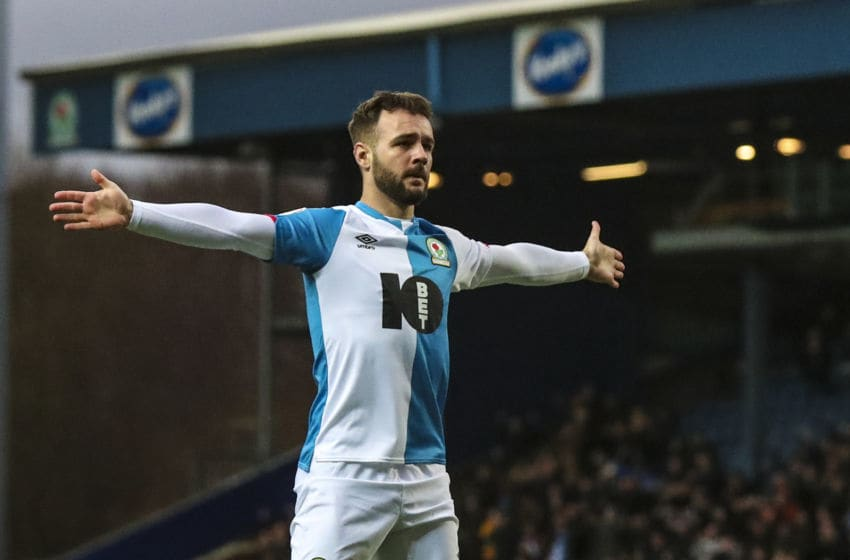BLACKBURN, ENGLAND - JANUARY 11: Adam Armstrong of Blackburn Rovers during the Sky Bet Championship match between Blackburn Rovers and Preston North End at Ewood Park on January 11, 2020 in Blackburn, England. (Photo by Rachel Holborn - BRFC/Getty Images)