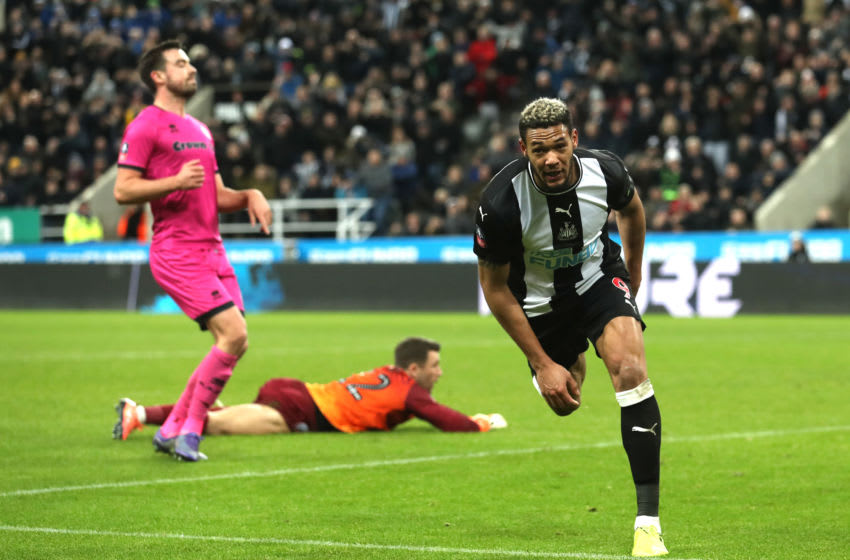 NEWCASTLE UPON TYNE, ENGLAND - JANUARY 14: Joelinton of Newcastle United celebrates after he scores his team's fourth goal during the FA Cup Third Round Replay match between Newcastle United and Rochdale at St. James Park on January 14, 2020 in Newcastle upon Tyne, England. (Photo by Ian MacNicol/Getty Images)