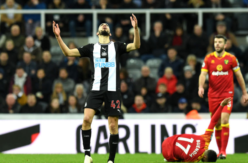 NEWCASTLE UPON TYNE, ENGLAND - FEBRUARY 01: Nabil Bentaleb of Newcastle United reacts during the Premier League match between Newcastle United and Norwich City at St. James Park on February 01, 2020 in Newcastle upon Tyne, United Kingdom. (Photo by Mark Runnacles/Getty Images)