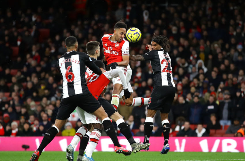 LONDON, ENGLAND - FEBRUARY 16: Pierre-Emerick Aubameyang of Arsenal scores his sides first goal during the Premier League match between Arsenal FC and Newcastle United at Emirates Stadium on February 16, 2020 in London, United Kingdom. (Photo by Richard Heathcote/Getty Images)