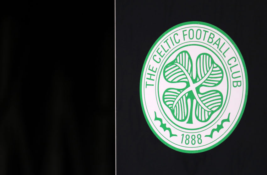 COPENHAGEN, DENMARK - FEBRUARY 20: The Celtic club badge ahead of the UEFA Europa League Round of 32 first leg match between FC Kobenhavn and Celtic FC at Telia Parken on February 20, 2020 in Copenhagen, Denmark. (Photo by Catherine Ivill/Getty Images)