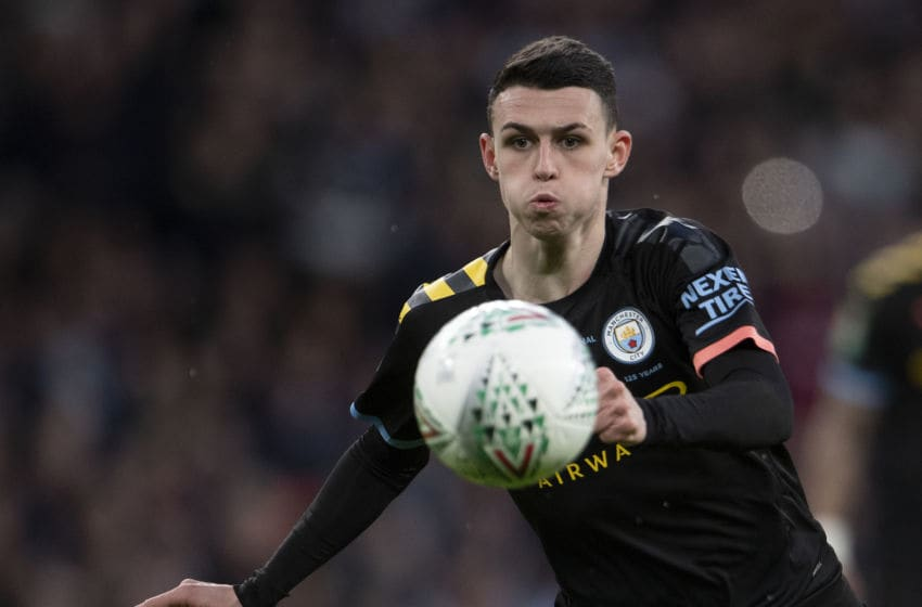 LONDON, ENGLAND - MARCH 01: Phil Foden of Manchester City during the Carabao Cup Final between Aston Villa and Manchester City at Wembley Stadium on March 01, 2020 in London, England. (Photo by Visionhaus)