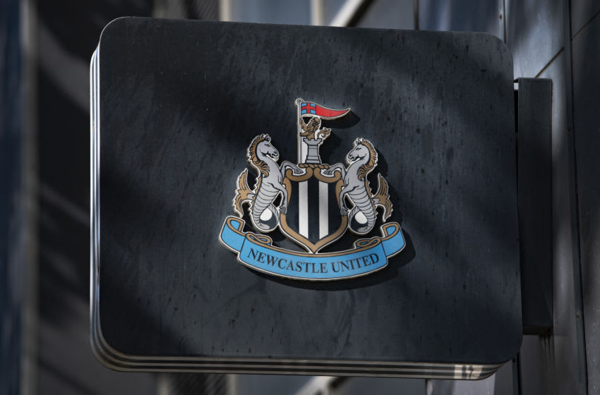 The Newcastle United club crest on display outside St James' Park, home of Newcastle United on August 20, 2020 in Newcastle, United Kingdom. (Photo by Visionhaus)