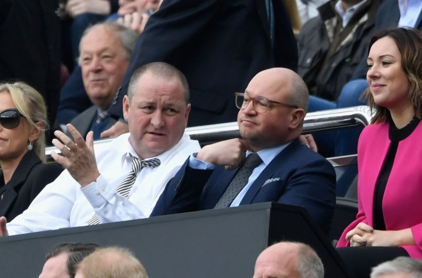Newcastle United owner Mike Ashley (l) and Lee Charnley. (Photo by Stu Forster/Getty Images)