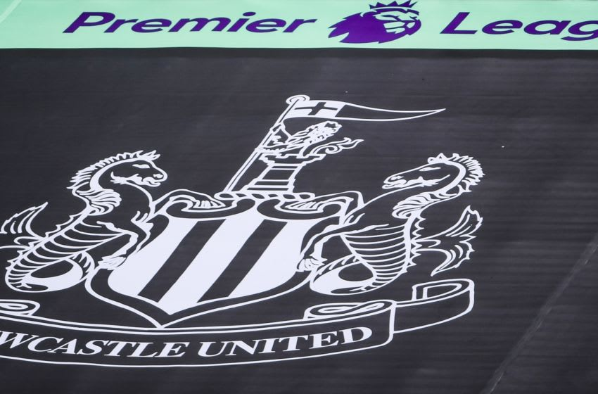 Newcastle United logo.(Photo by LAURENCE GRIFFITHS/POOL/AFP via Getty Images)
