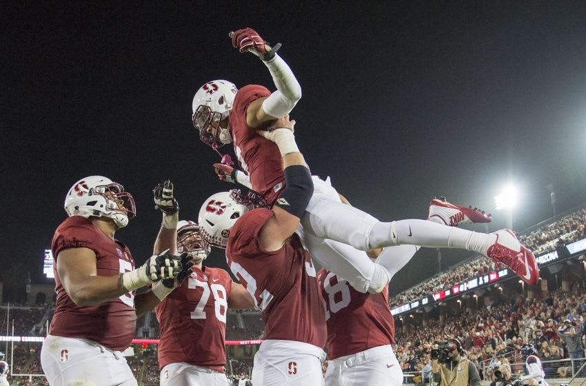 October 3, 2015; Stanford, CA, USA; Stanford Cardinal wide receiver Michael Rector (3, top) is congratulated by center Graham Shuler (52) for scoring a touchdown against the Arizona Wildcats during the third quarter at Stanford Stadium. Stanford defeated Arizona 55-17. Mandatory Credit: Kyle Terada-USA TODAY Sports