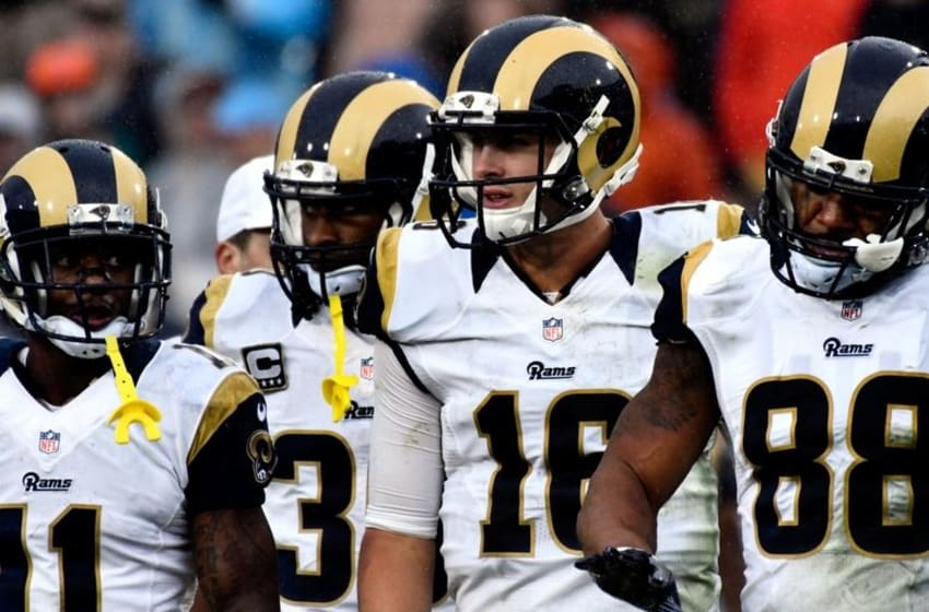 Nov 20, 2016; Los Angeles, CA, USA; Los Angeles Rams wide receiver Tavon Austin (11), running back Todd Gurley (30), quarterback Jared Goff (16) and Los Angeles Rams tight end Lance Kendricks (88) during the second half against the Miami Dolphins at Los Angeles Memorial Coliseum. Mandatory Credit: Robert Hanashiro-USA TODAY Sports