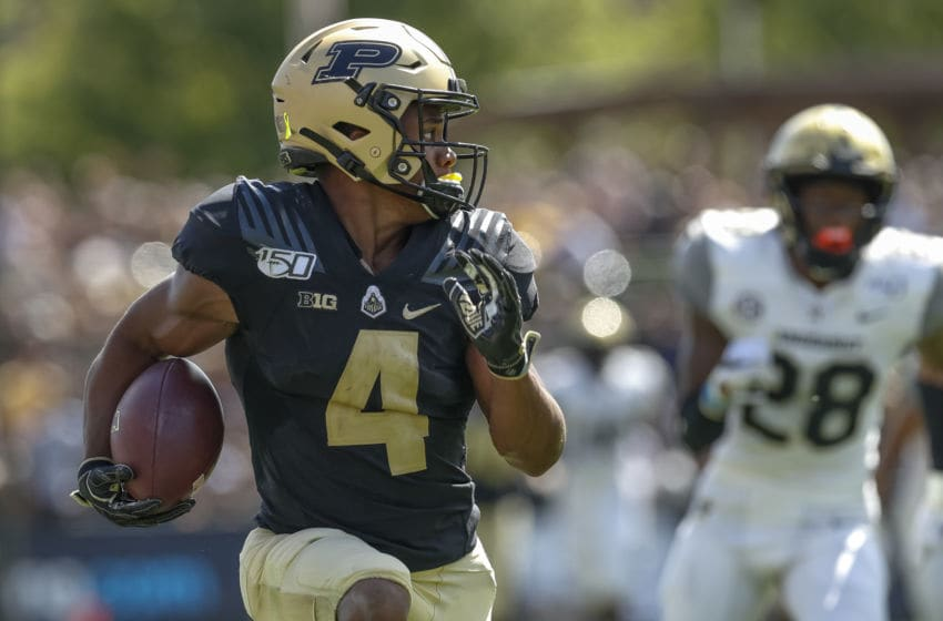 WEST LAFAYETTE, IN - SEPTEMBER 07: Rondale Moore #4 of the Purdue Boilermakers runs the ball during the game against the Vanderbilt Commodores at Ross-Ade Stadium on September 7, 2019 in West Lafayette, Indiana. (Photo by Michael Hickey/Getty Images)