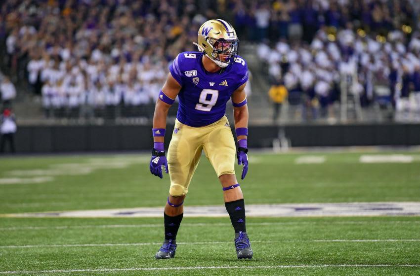 2021 NFL Draft prospect Joe Tryon #9 of the Washington Huskies (Photo by Alika Jenner/Getty Images)