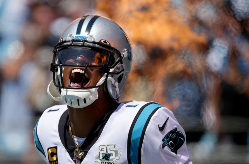 CHARLOTTE, NORTH CAROLINA - SEPTEMBER 08: Cam Newton #1 of the Carolina Panthers runs onto the field during player introductions before their game against the Los Angeles Rams at Bank of America Stadium on September 08, 2019 in Charlotte, North Carolina. (Photo by Streeter Lecka/Getty Images)