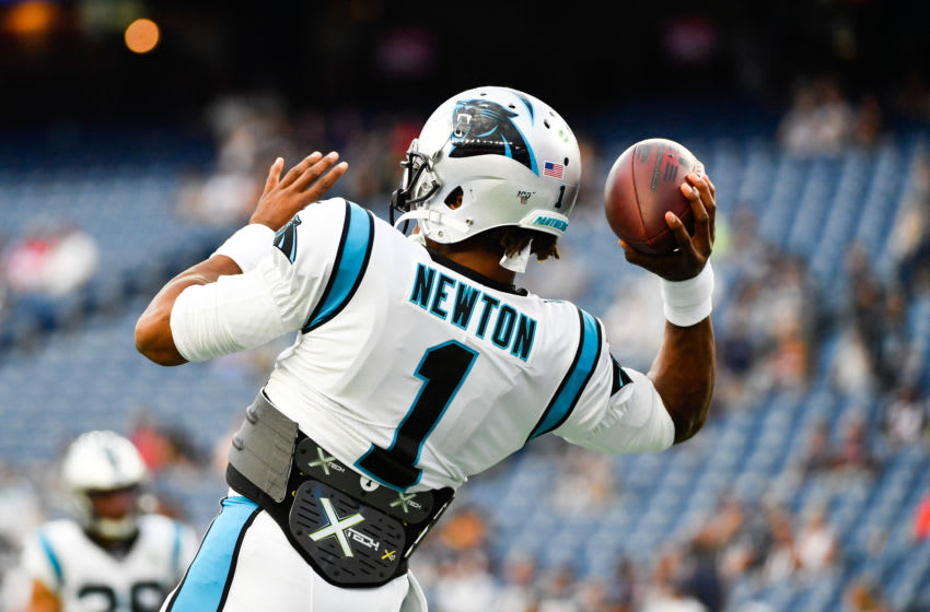 FOXBOROUGH, MA - AUGUST 22: Cam Newton #1 of the Carolina Panthers warms up prior to the start of the preseason game against the New England Patriots at Gillette Stadium on August 22, 2019 in Foxborough, Massachusetts. (Photo by Kathryn Riley/Getty Images)