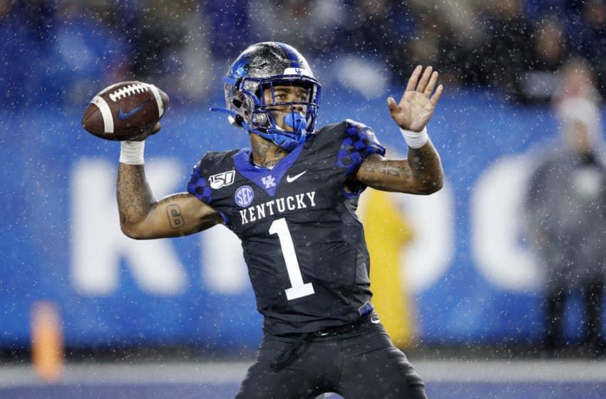 LEXINGTON, KY - OCTOBER 26: Lynn Bowden Jr. #1 of the Kentucky Wildcats passes the ball against the Missouri Tigers during a game at Kroger Field on October 26, 2019 in Lexington, Kentucky. Kentucky defeated Missouri 29-7. (Photo by Joe Robbins/Getty Images)