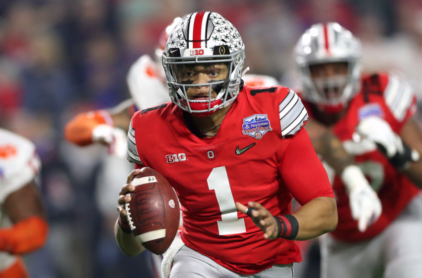 Justin Fields #1 of the Ohio State Buckeyes (Photo by Matthew Stockman/Getty Images)