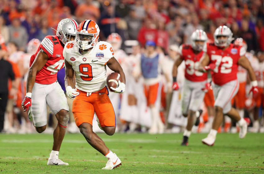 2021 NFL Draft prospect, Travis Etienne #9 of the Clemson Tigers (Photo by Christian Petersen/Getty Images)