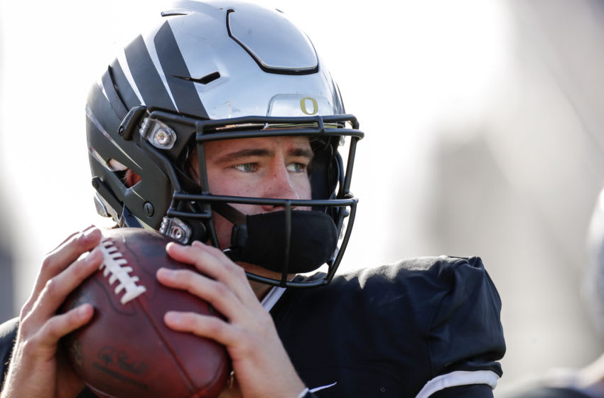 MOBILE, AL - JANUARY 25: Quarterback Justin Herbert #10 from Oregon of the South Team warms up before the start of the 2020 Resse's Senior Bowl at Ladd-Peebles Stadium on January 25, 2020 in Mobile, Alabama. The North Team defeated the South Team 34 to 17. (Photo by Don Juan Moore/Getty Images)