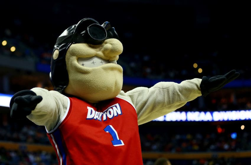 BUFFALO, NY - MARCH 20: The Dayton Flyers mascot, Rudy Flyer, performs during the second round of the 2014 NCAA Men's Basketball Tournament against the Ohio State Buckeyes at the First Niagara Center on March 20, 2014 in Buffalo, New York. (Photo by Elsa/Getty Images)