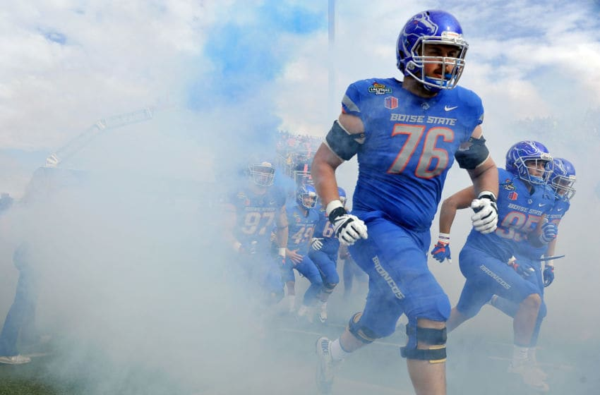 LAS VEGAS, NV - DECEMBER 16: Ezra Cleveland #76 of the Boise State Broncos runs on the field before the start of the Las Vegas Bowl against the Oregon Ducks at Sam Boyd Stadium on December 16, 2017 in Las Vegas, Nevada. Boise State won 38-28. (Photo by David Becker/Getty Images)
