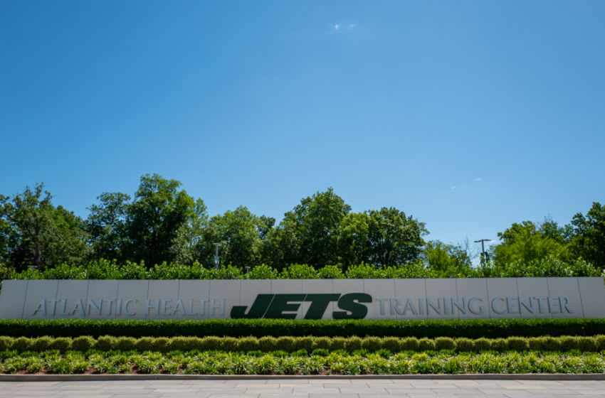 Official logo of the New York Jets at The Atlantic Health Jets Training Center on June 4, 2019 in Florham Park, New Jersey. (Photo by Mark Brown/Getty Images)