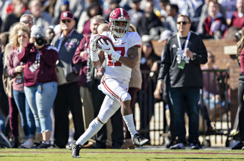 2021 NFL Draft prospect Jaylen Waddle #17 of the Alabama Crimson Tide (Photo by Wesley Hitt/Getty Images)