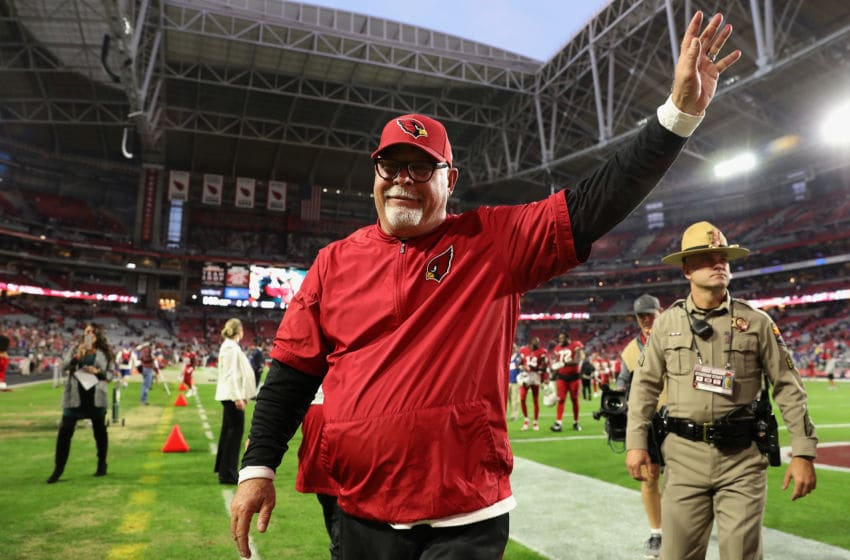 GLENDALE, AZ - DECEMBER 24: Head coach Bruce Arians of the Arizona Cardinals waves to fans as he walks off the field following the NFL game against the New York Giants at the University of Phoenix Stadium on December 24, 2017 in Glendale, Arizona. The Arizona Cardinals won 23-0. (Photo by Christian Petersen/Getty Images)