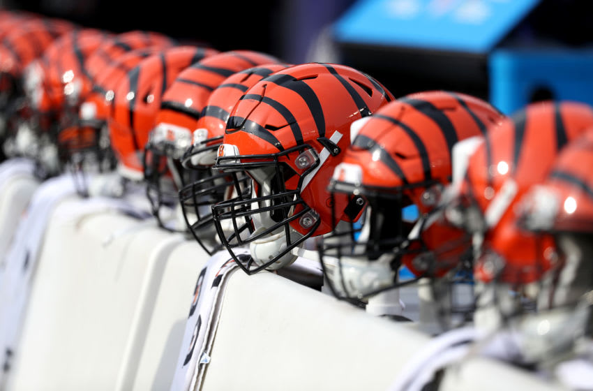 Cincinnati Bengals helmets line the bench before the start of the Bengals and Baltimore Ravens game at M&T Bank Stadium on November 18, 2018 in Baltimore, Maryland. (Photo by Rob Carr/Getty Images)