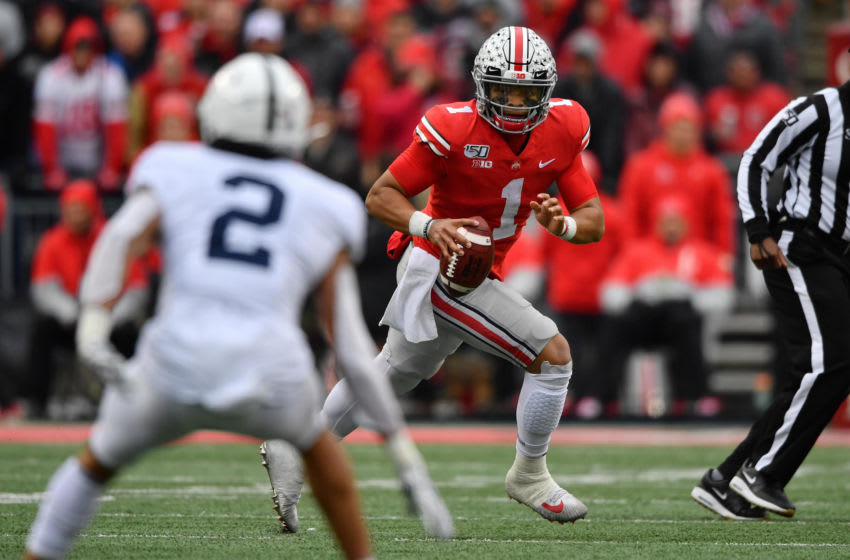 2021 NFL Draft prospect, Justin Fields #1 of the Ohio State Buckeyes (Photo by Jamie Sabau/Getty Images)