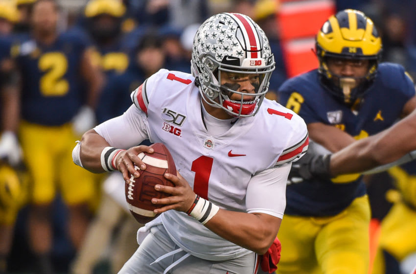 2021 NFL Draft prospect quarterback Justin Fields #1 of the Ohio State Buckeyes (Photo by Aaron J. Thornton/Getty Images)