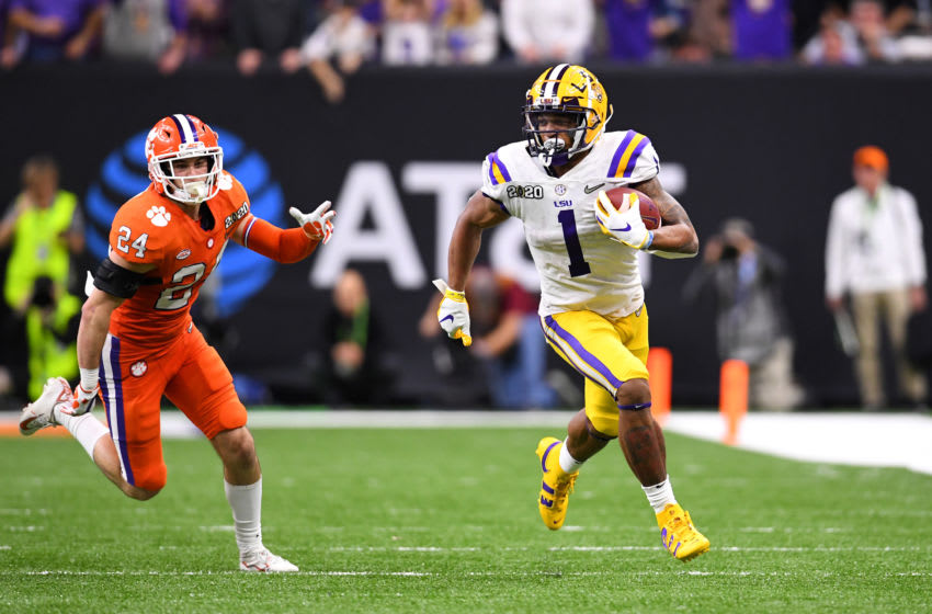 The Detroit Lions make wide receiver Ja'Marr Chase a priority in recent 2021 NFL mock draft (Photo by Jamie Schwaberow/Getty Images)