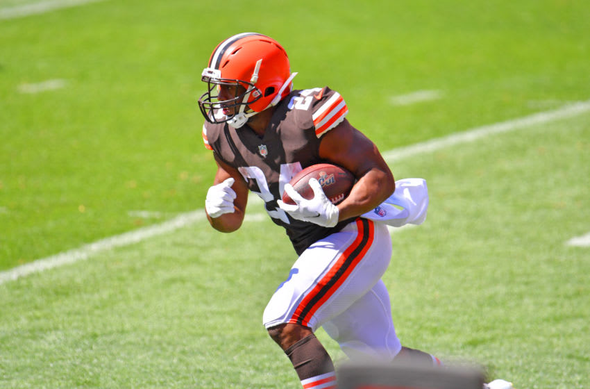 Running back Nick Chubb #24 of the Cleveland Browns (Photo by Jason Miller/Getty Images)