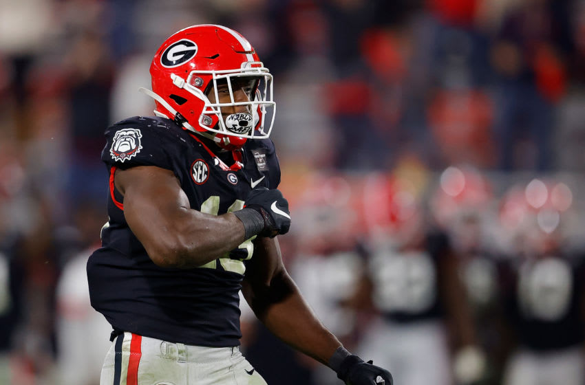 2021 NFL Draft prospect Azeez Ojulari #13 of the Georgia Bulldogs (Photo by Kevin C. Cox/Getty Images)