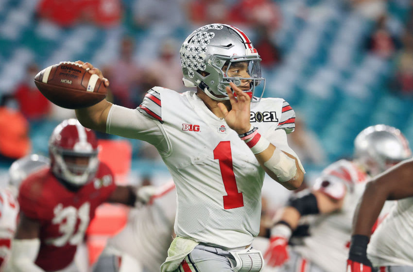 2021 NFL Mock Draft: Ohio State QB Justin Fields (Photo by Mike Ehrmann/Getty Images)