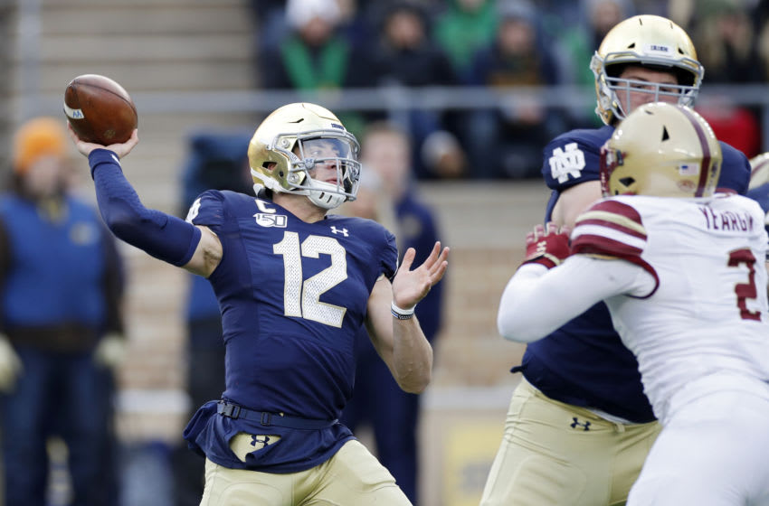 2021 NFL Draft prospect Ian Book #12 of the Notre Dame Fighting Irish (Photo by Joe Robbins/Getty Images)